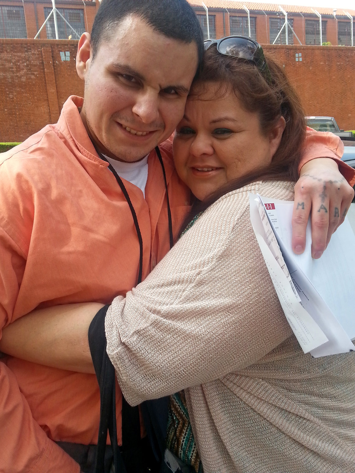 Sara Garcia with Mark on the day of his release from solitary and prison in July 2014.
