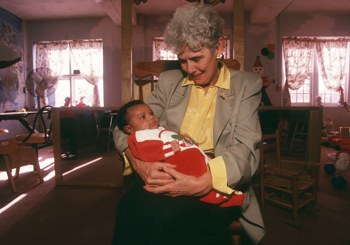 Sister Roulet in the daycare room at Bedford Hills.