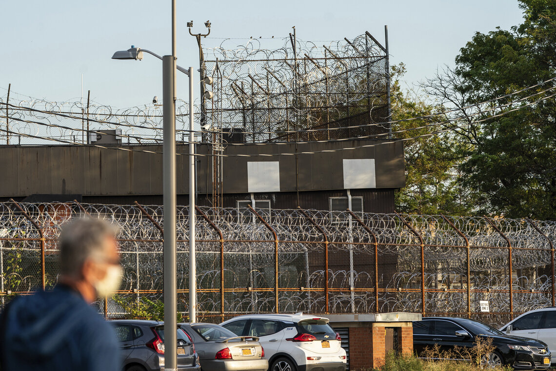 A security fence surrounds housing for incarcerated people at the Rikers Island correctional facility in New York on Sept. 27, 2021.