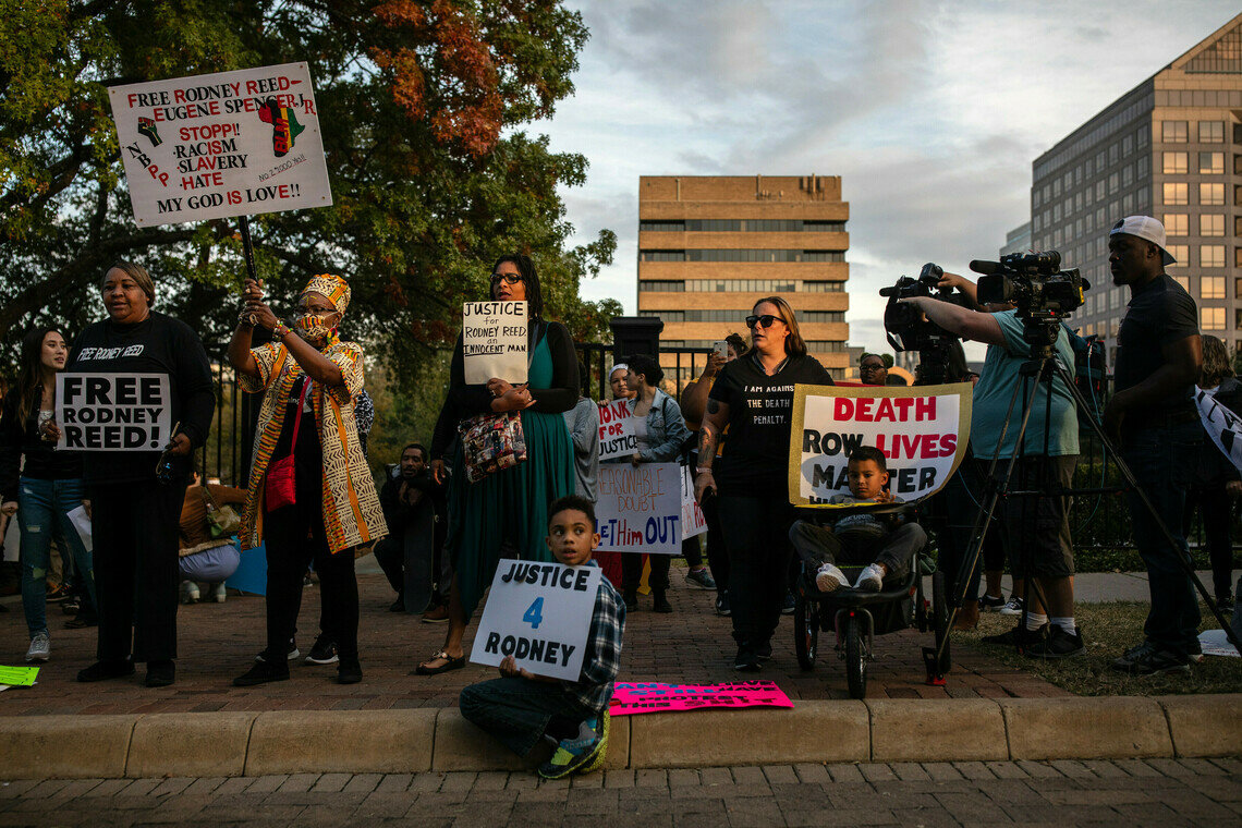 Protesters at a rally in support of Rodney Reed, whose execution was called off in November 2019, outside the governor's mansion in Austin, Texas.