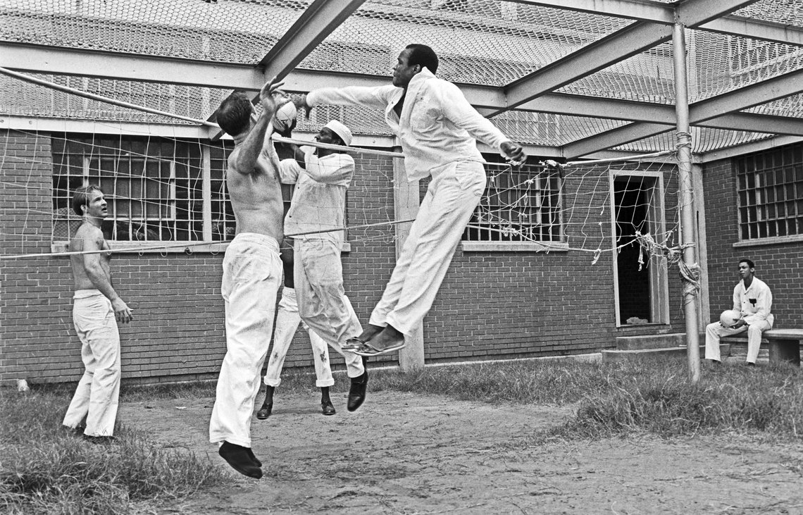 The exercise yard for death row inmates at the Ellis Unit, 1979.