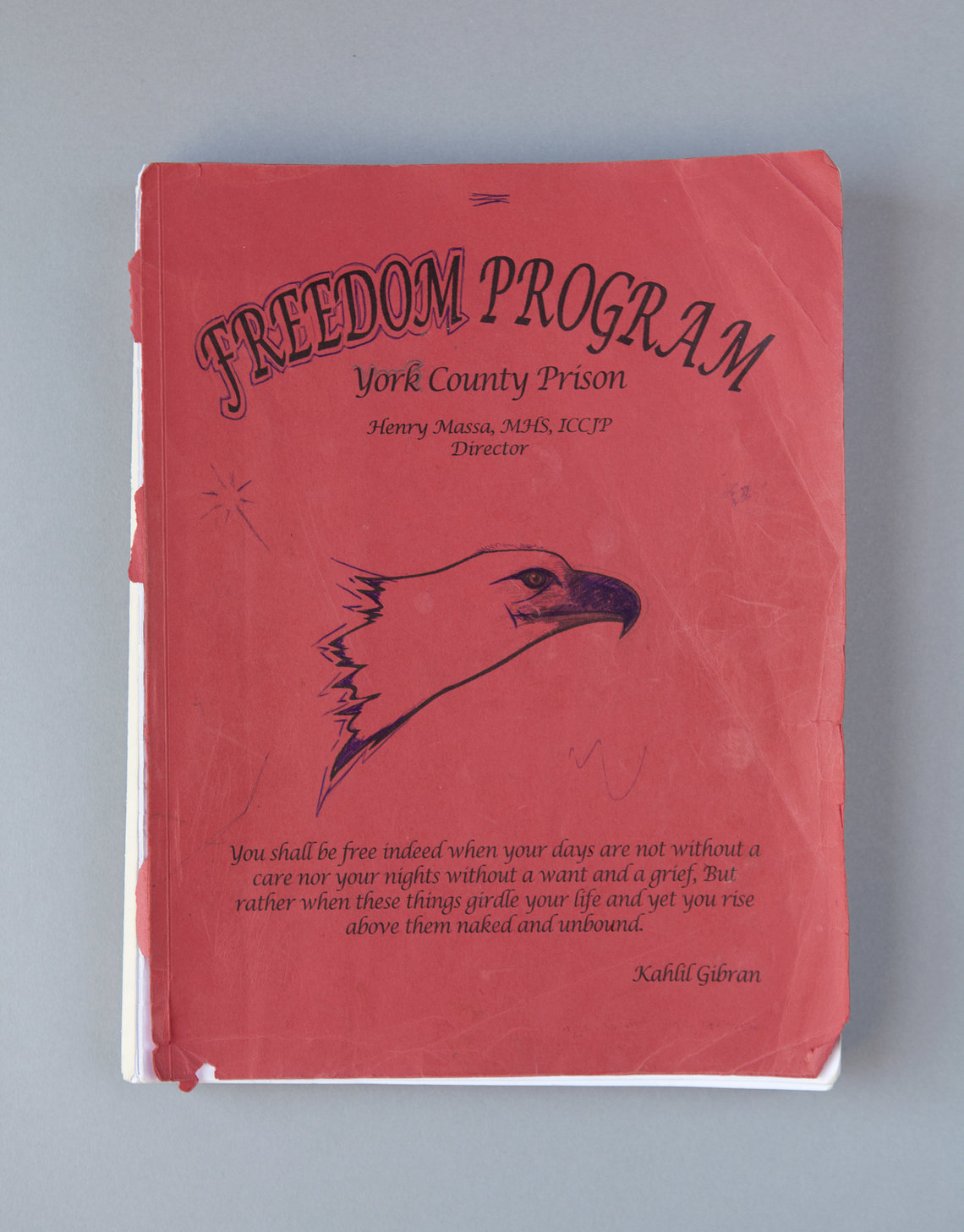 A workbook for the Freedom Program, a four-month dorm-based rehab offered at York County Prison in Pennsylvania.