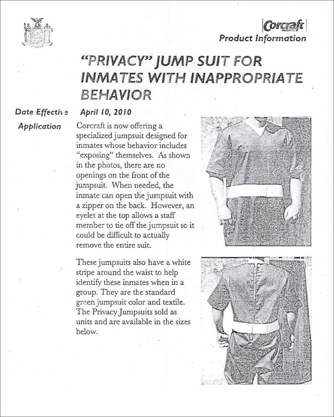 A 2010 product spec sheet for an earlier version of the privacy suit distributed by Corcraft, a division of the New York State Department of Corrections and Community Supervision.