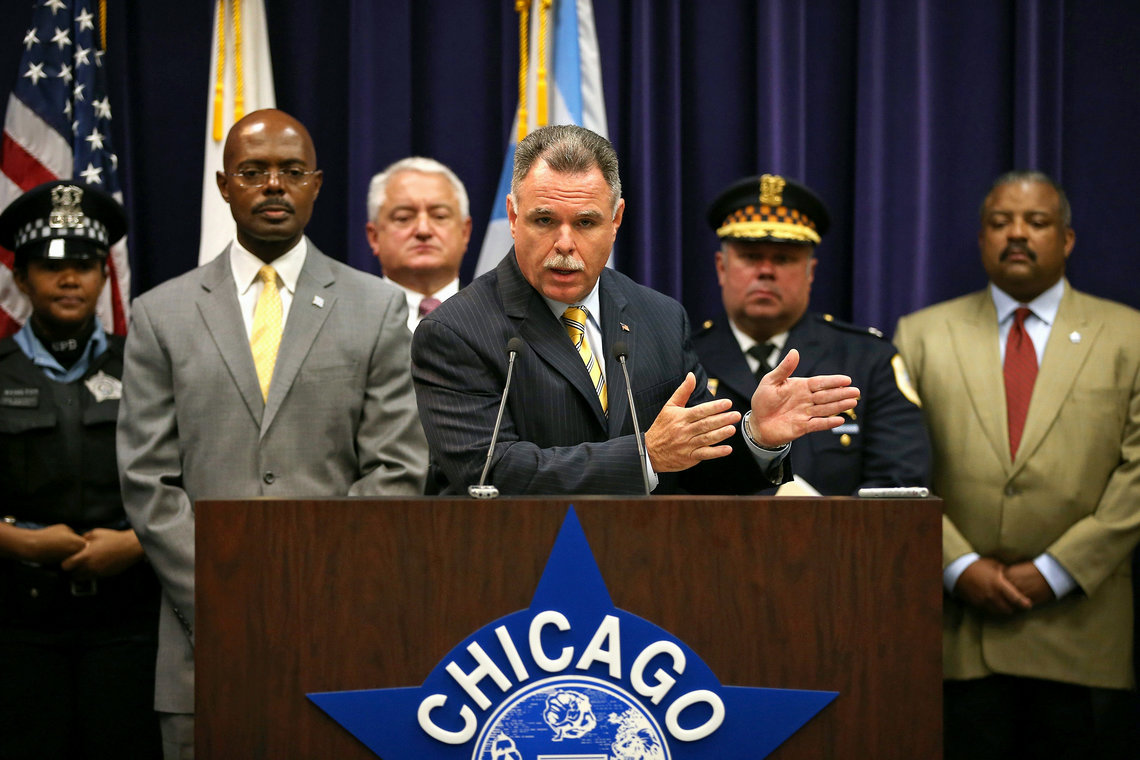 Chicago Police Superintendent Garry McCarthy held a press conference to announce the arrests of four men in a shooting at Chicago's Cornell Square Park in September, 2013.
