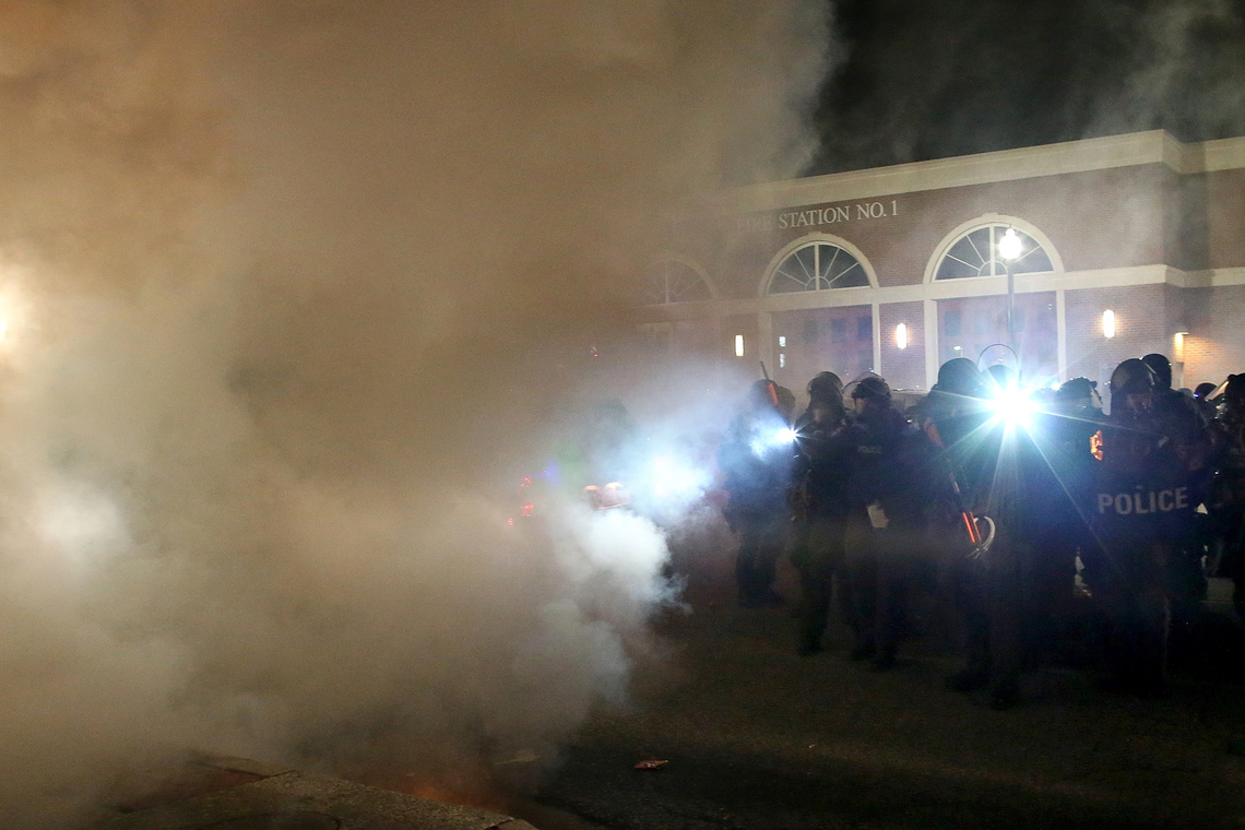 Police used tear gas to disperse demonstrators after the announcement of the grand jury decision in Ferguson, Mo., on Monday.