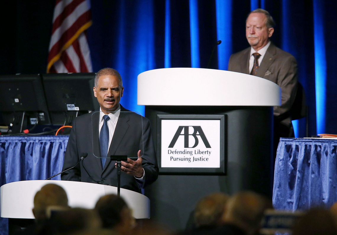 Holder at a meeting of the American Bar Association in August 2013, where he announced plans for changes in drug sentencing policies.