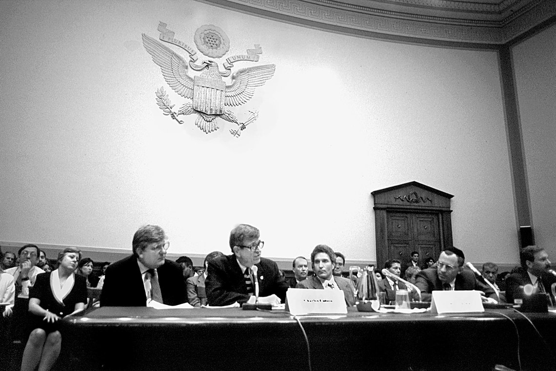 Pat Nolan, left, with Chuck Colson testify before the House Judiciary Committee on the Prison Rape Elimination Act in 2003.