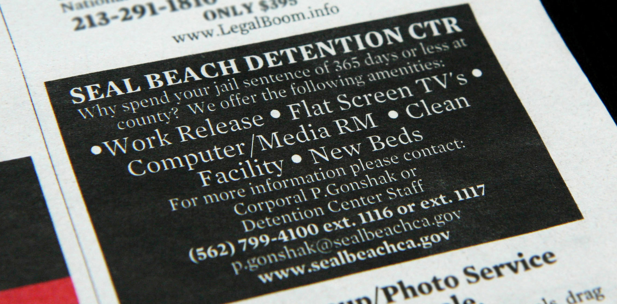 An advertisement placed in LA Weekly in 2013 for the pay-to-stay program at Seal Beach Detention Center.