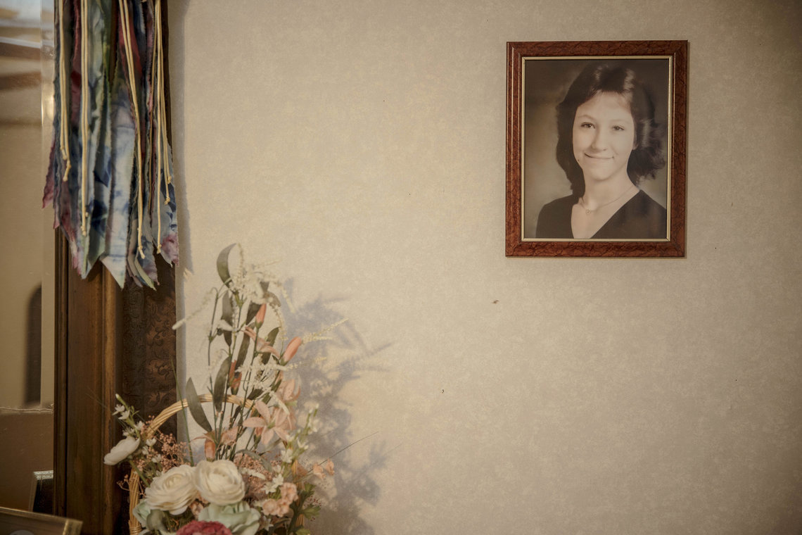 A photograph of Nancy Mueller hangs at the home of her mother, Earlene Peterson. Daniel Lewis Lee was executed for murdering Mueller, her husband and her daughter.