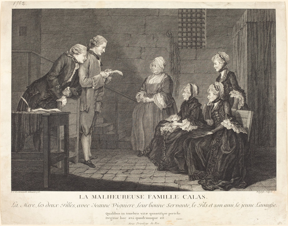 To raise money for the Calas family, prints were sold in Europe depicting the case. In this scene, Gaubert Lavaysse, a visitor at the Calas house the night Marc-Antoine died, reads aloud a defense document as Pierre Calas looks over his shoulder and Jean Calas's servant, daughters and wife listen.