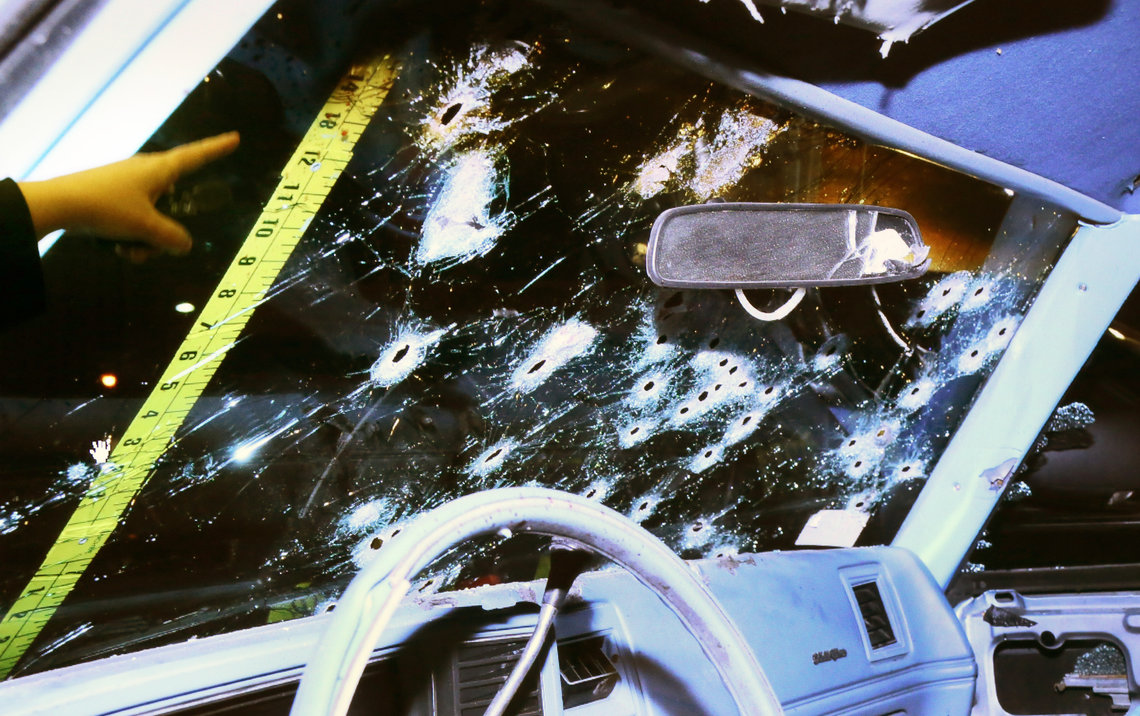 Photographs presented as evidence at the trial of Cleveland police officer, Michael Brelo, in April. Brelo was acquitted on two counts of voluntary manslaughter in the November 2012 deaths of Timothy Russell, 43, and Malissa Williams, 30, after a high-speed chase where officers shot a combined 137 shots at their fleeing vehicle.