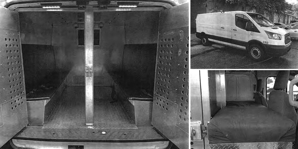Photographs of a U.S. Corrections van, submitted as part of the application for PTS to merge with U.S. Corrections. Benches on many U.S. Corrections vans did not have cushions.