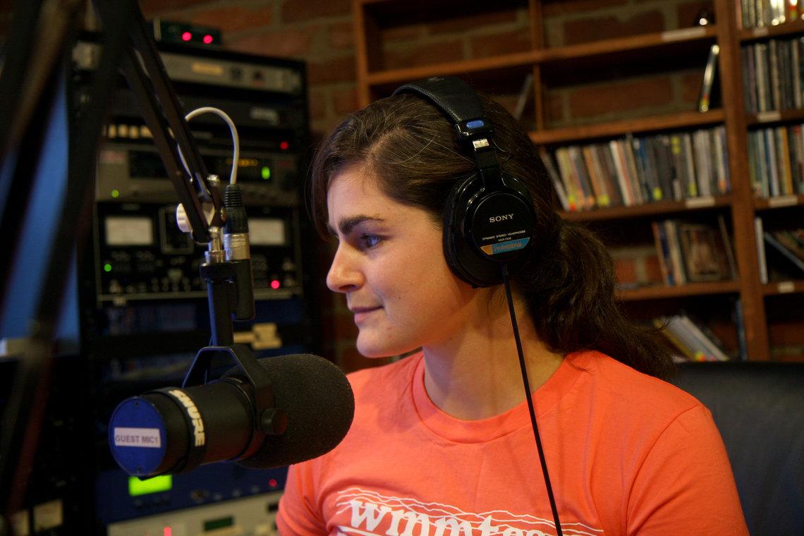 Sylvia Ryerson in WMMT's studio in Whitesburg, Ky.
