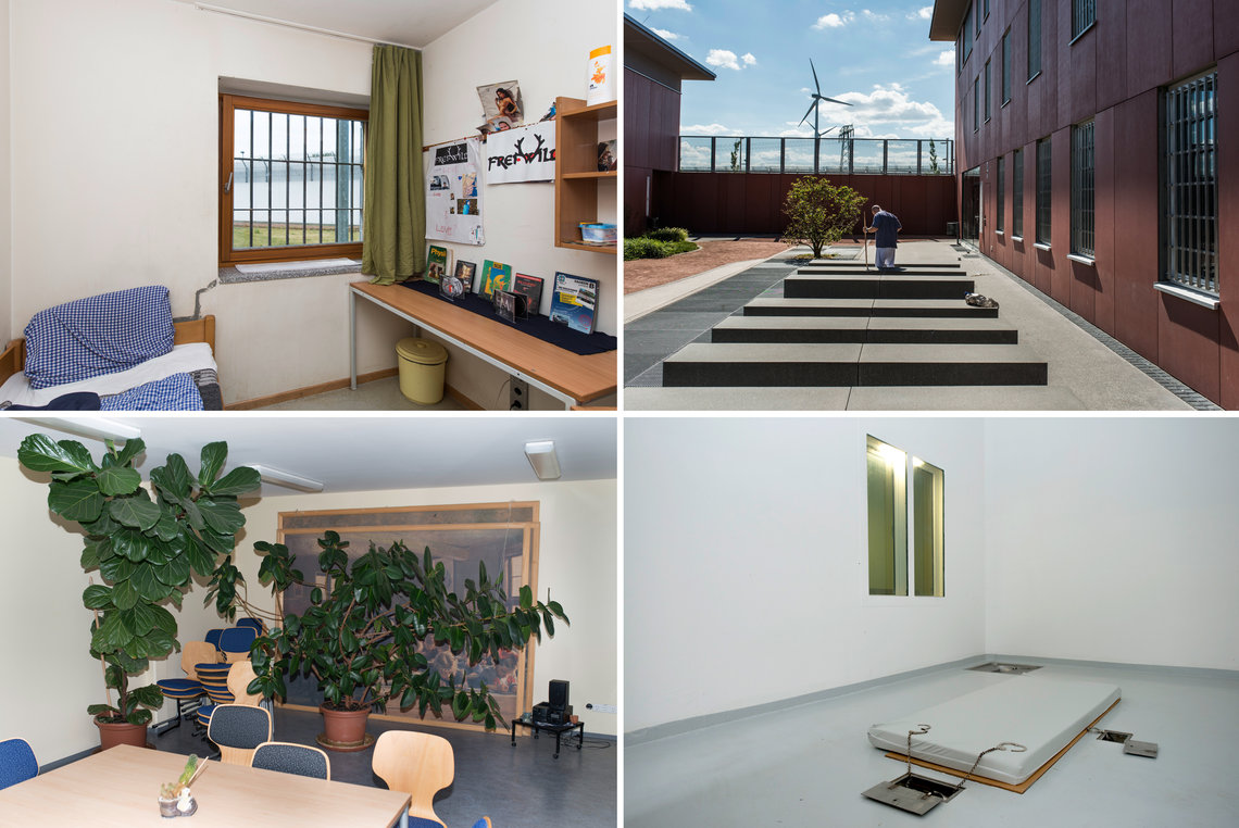 Clockwise from top left: A cell inside Neustrelitz; an inmate cleaning one of the yards at Heidering; an observation cell for violent or suicidal inmates at Waldeck Prison; the social therapy department at Waldeck.