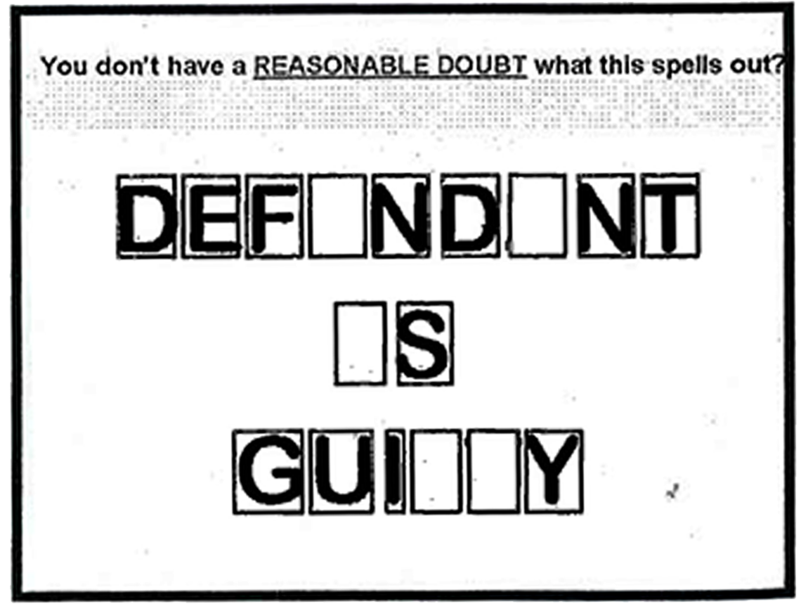 """An example of how to visualize the concept of """"reasonable doubt,"""" from page 110 of the book published by the NDAA."""