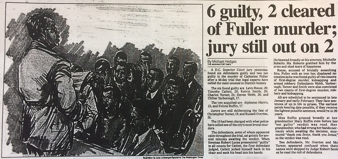 The defendants in the Catherine Fuller murder trial listen as jury foreman Robert Lucas reads the verdicts in court in December 1985.