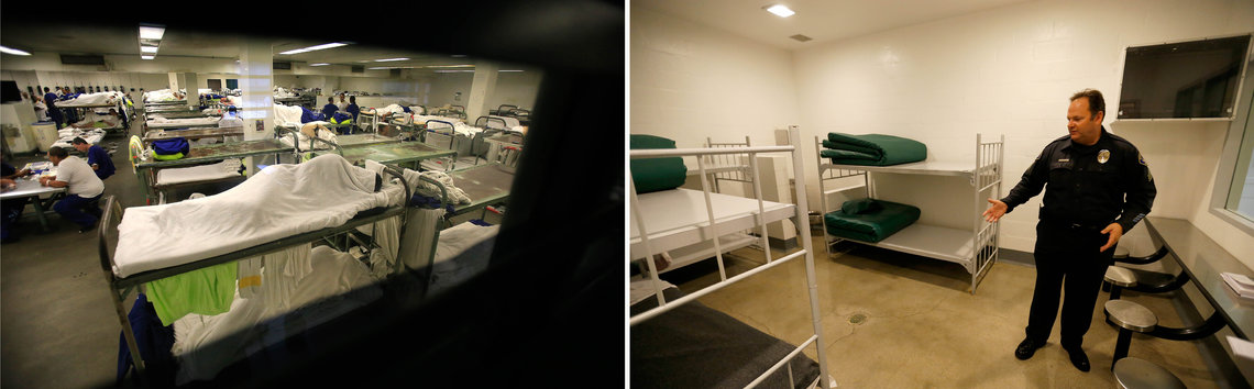 Left, inmates crowd a dorm room inside the Los Angeles County Jail in 2014; right, Sgt. Steve Bowles of the Seal Beach Detention Center in Seal Beach, Calif., gives a tour of a jail dorm where pay-to-stay participants can watch television.