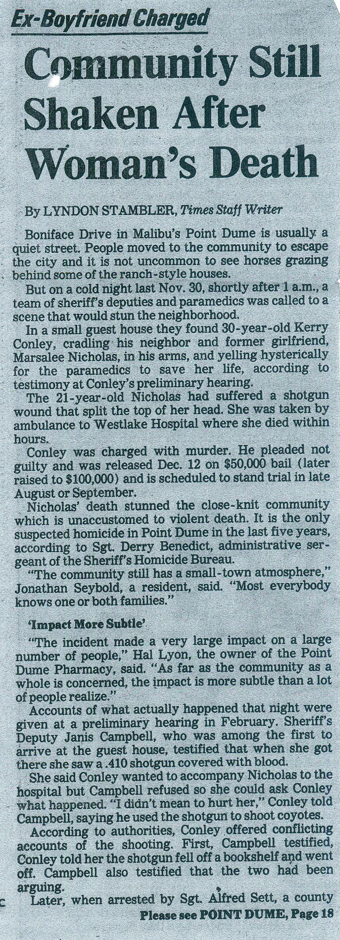 A clip from the Los Angeles Times about Marsalee Nicholas's death.