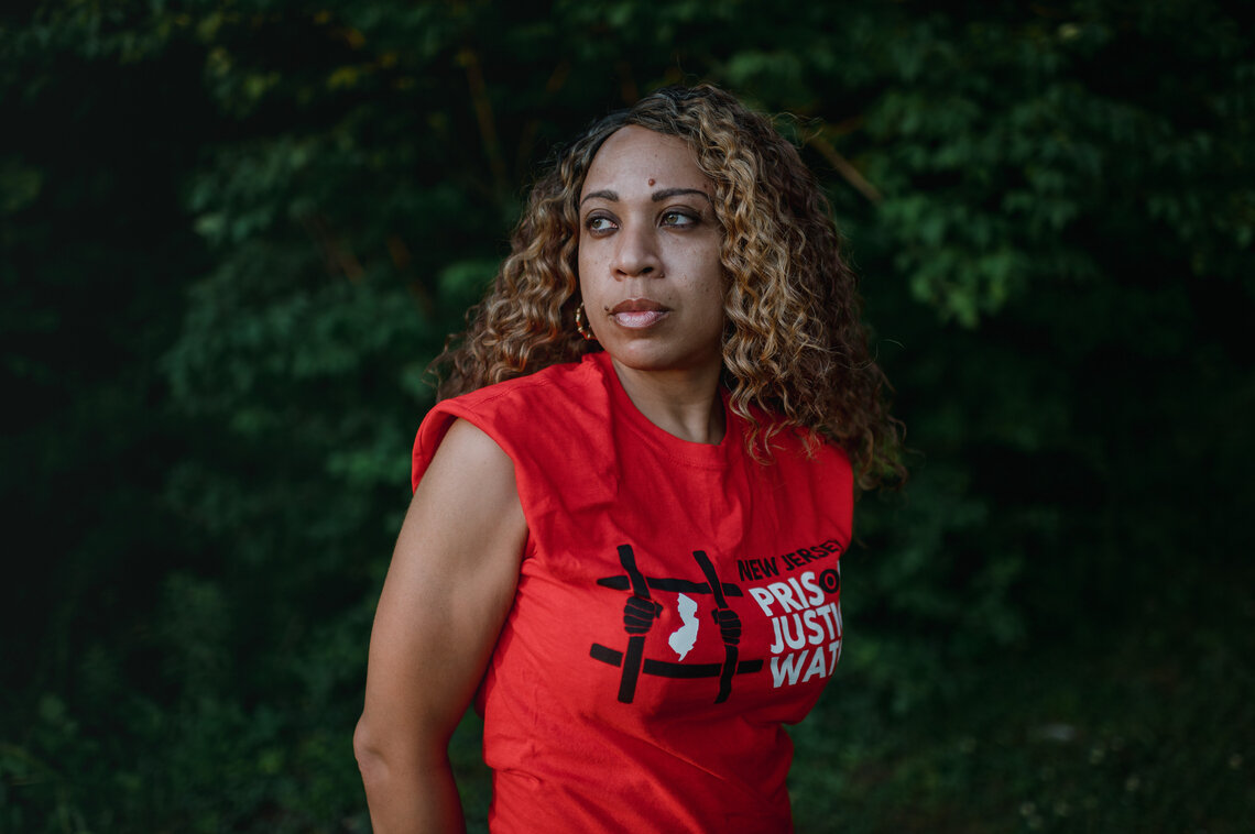 Nafeesah Goldsmith, 42, an advocate for formerly incarcerated people, near her home in Lawnside, N.J., on June 15, 2021.