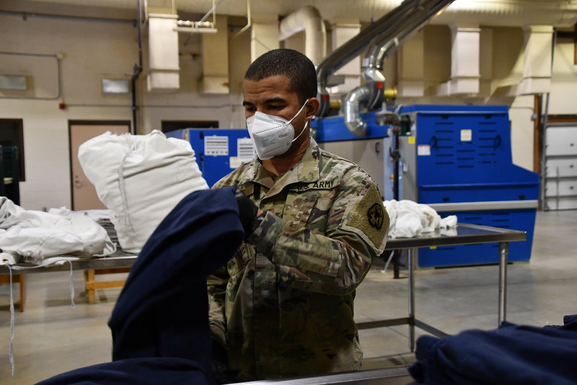 A soldier from the Montana Army National Guard provided laundry services at the Montana State Prison in Deer Lodge, Mont., in November.