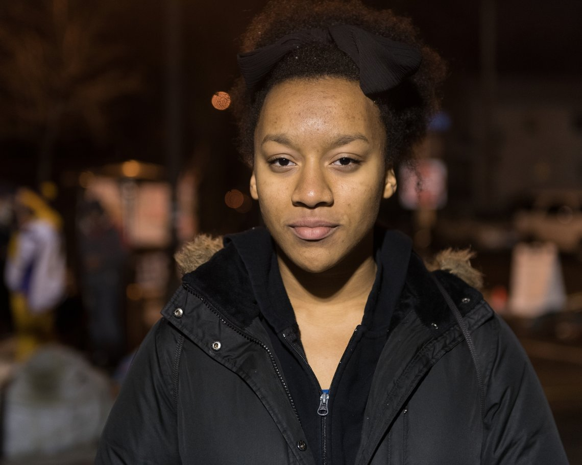 "READY: Eemanna Rivers, 17, one of the founders of the Black Student Union at Edina High School in Edina, a suburb of Minneapolis.  She is at the encampment whenever she is able, and says she comes to ""show solidarity and to keep searching for answers."""