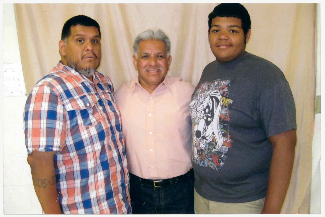 Rodriguez, center, with his son, left, and grandson, right, in June 2015.