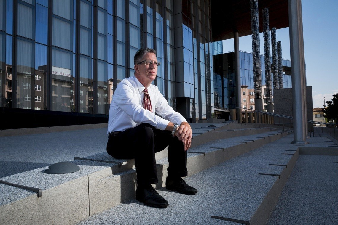 David Carroll, executive director of the Sixth Amendment Center, outside the Governor George Deukmejian Courthouse in Long Beach, California.