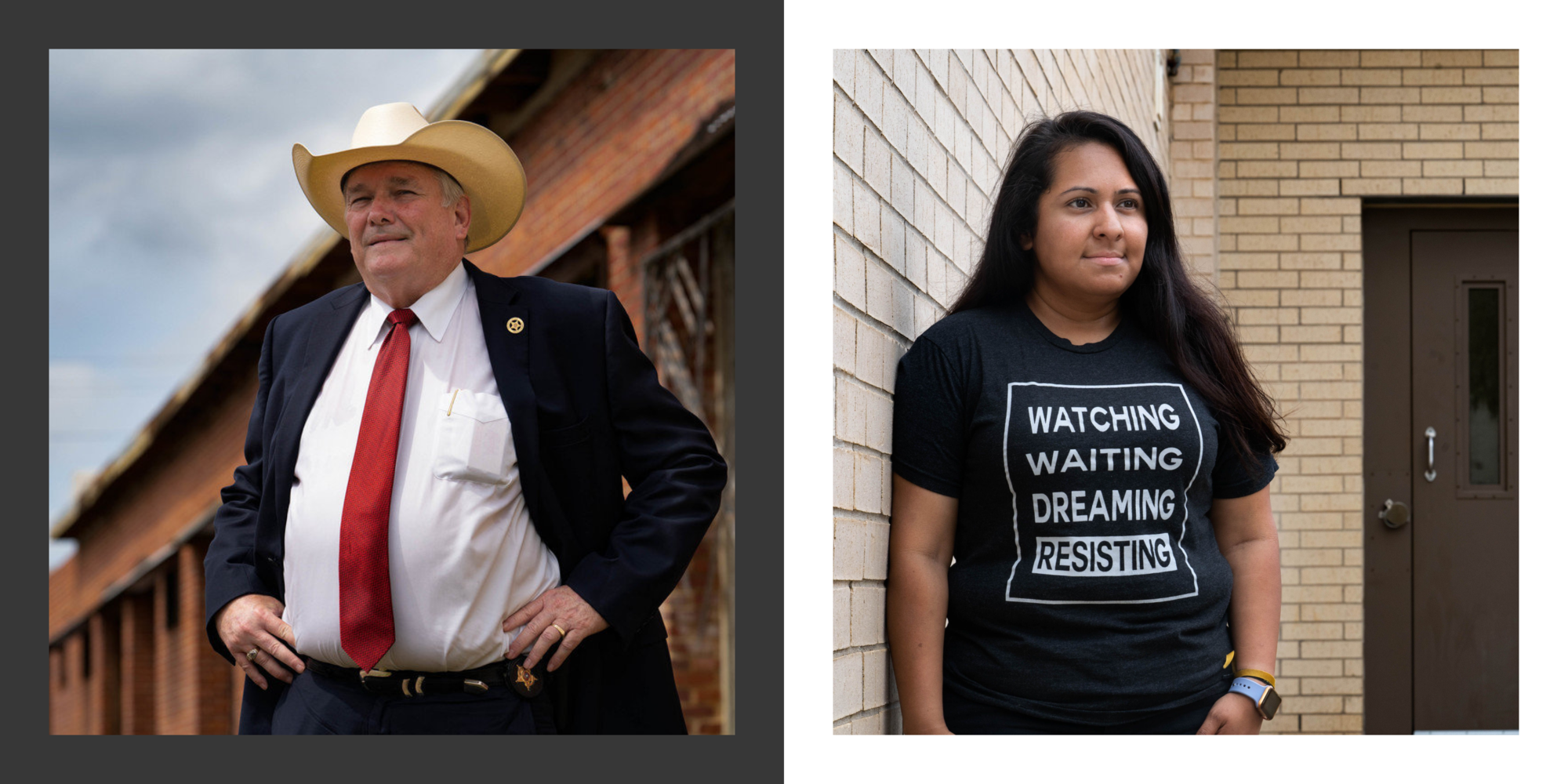 Sheriff Larry Smith, left, outside the Smith County Sheriff's office; and Dalila Reynoso near the door where detainees were released from the Smith County jail in Tyler, Texas, in March.