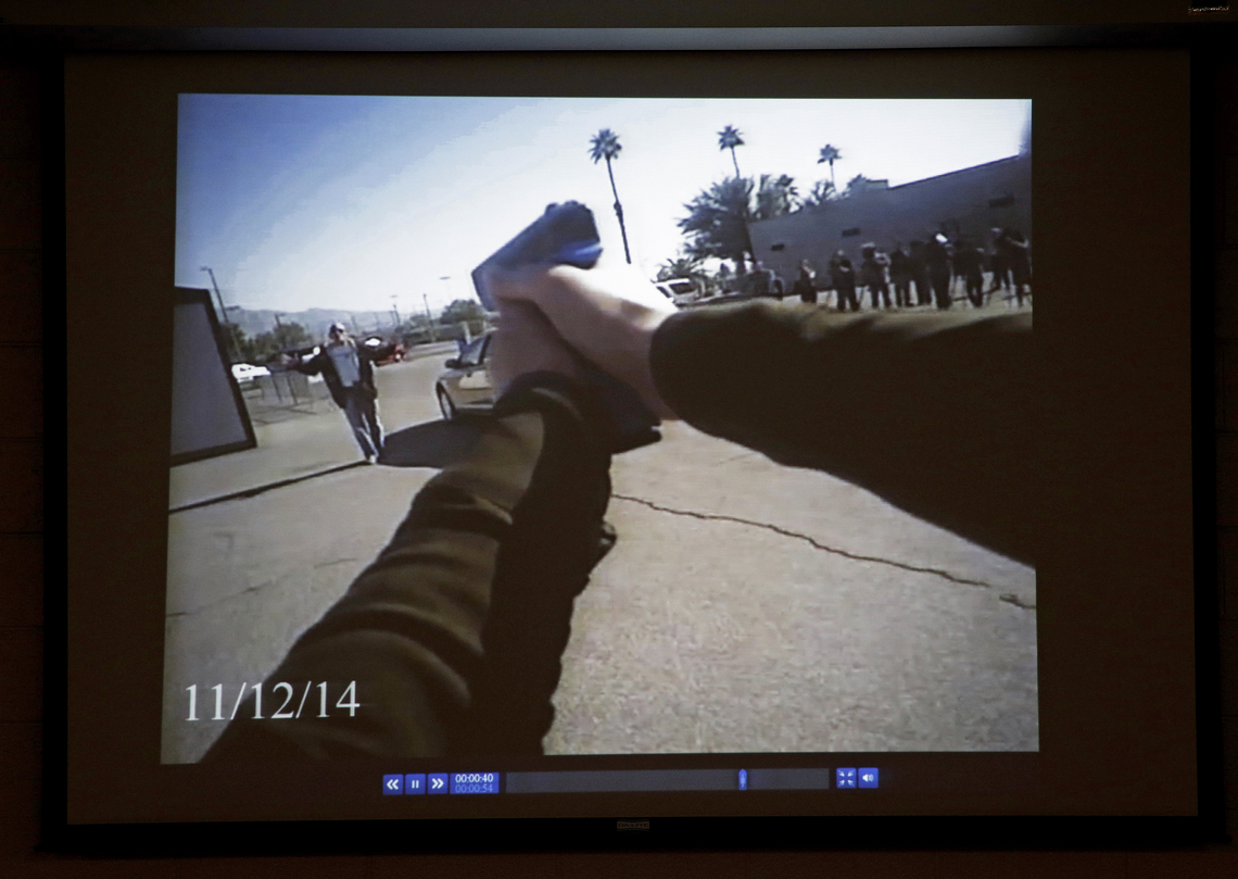 Footage from a Las Vegas police department body camera demonstration.