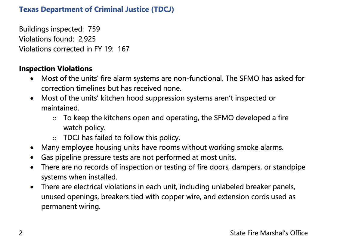 A 2019 State Fire Marshal's Office report noted nearly 3,000 fire safety violations in the Texas prison system.