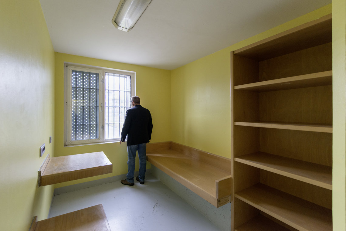 Marcantel inside a solitary confinement cell at Waldeck.