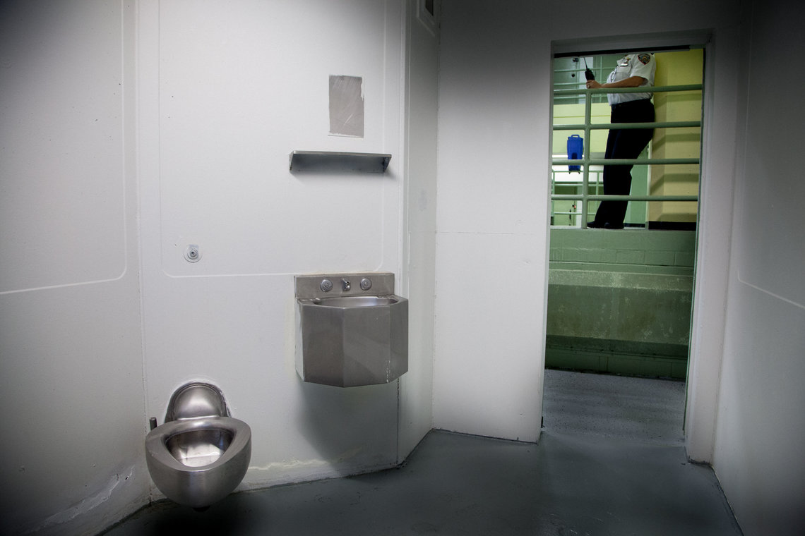 Inside a solitary confinement cell.