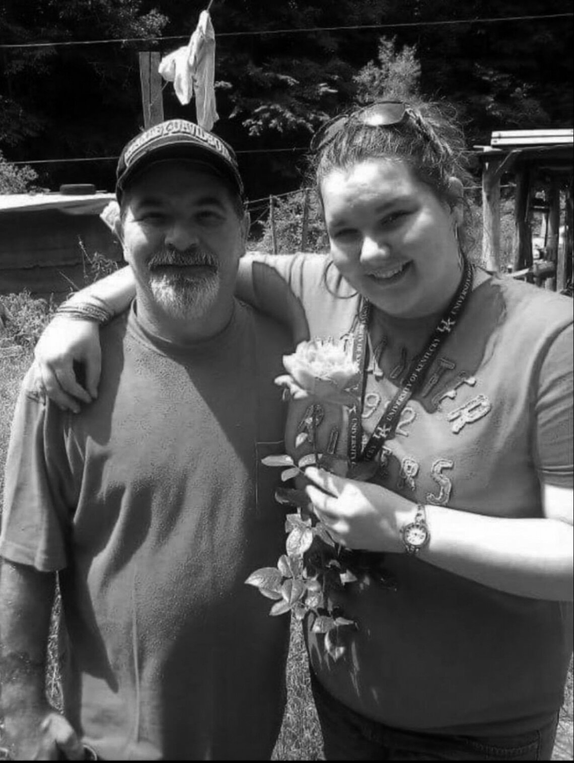 Stephen Brock with his daughter, Hayley Everage, in 2012. Brock grew the rose for his daughter.