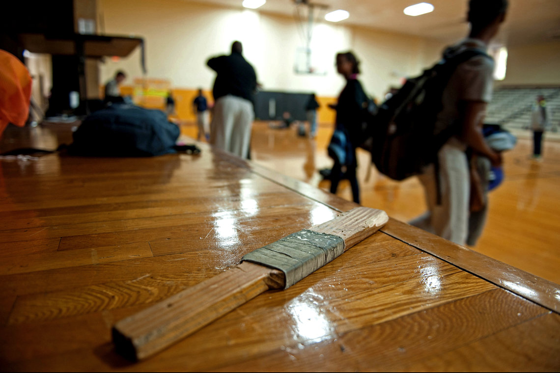 A paddle used for disciplining students during gym class at D.M. Smith Middle School in Cleveland, Miss.