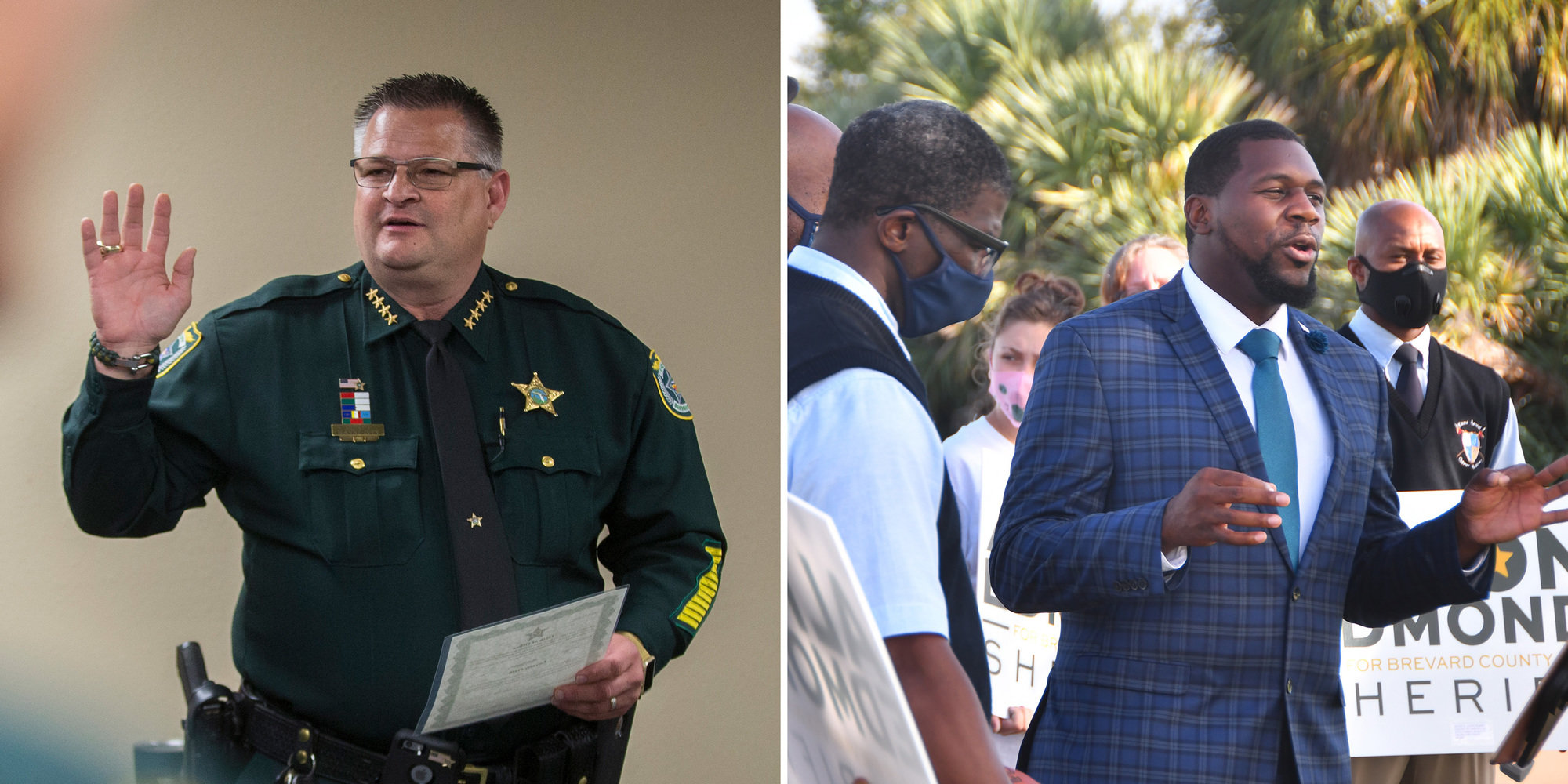 Sheriff Wayne Ivey of Brevard County, Florida, left, is facing Alton Edmond, a former public defender running as a Democrat in the sheriff's election in November.