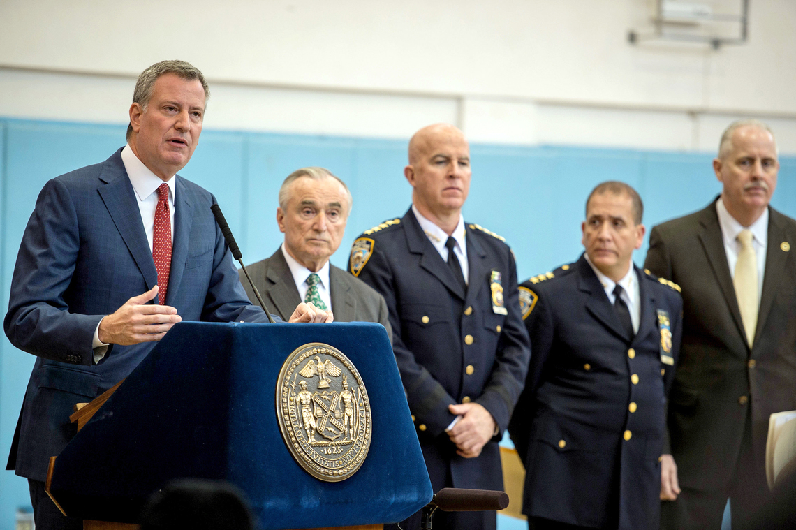 Mayor de Blasio with Police Commissioner William Bratton one day after announcing plans to expand mental health services within New York City's criminal justice system.