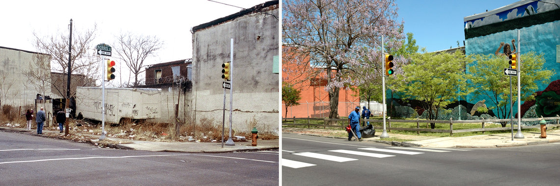 The corner of Norris St. and 5th St. in 2003, left, and in 2013, right, in Philadelphia, Pa.