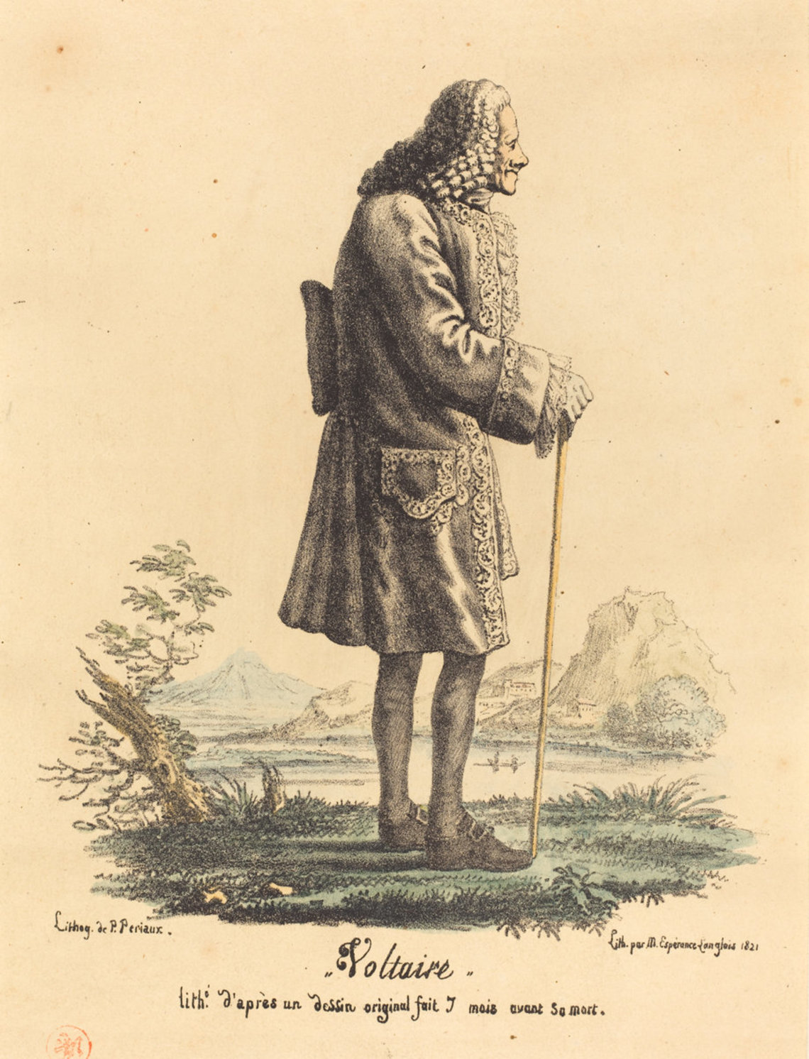 A 1821 print depicting the writer Voltaire.