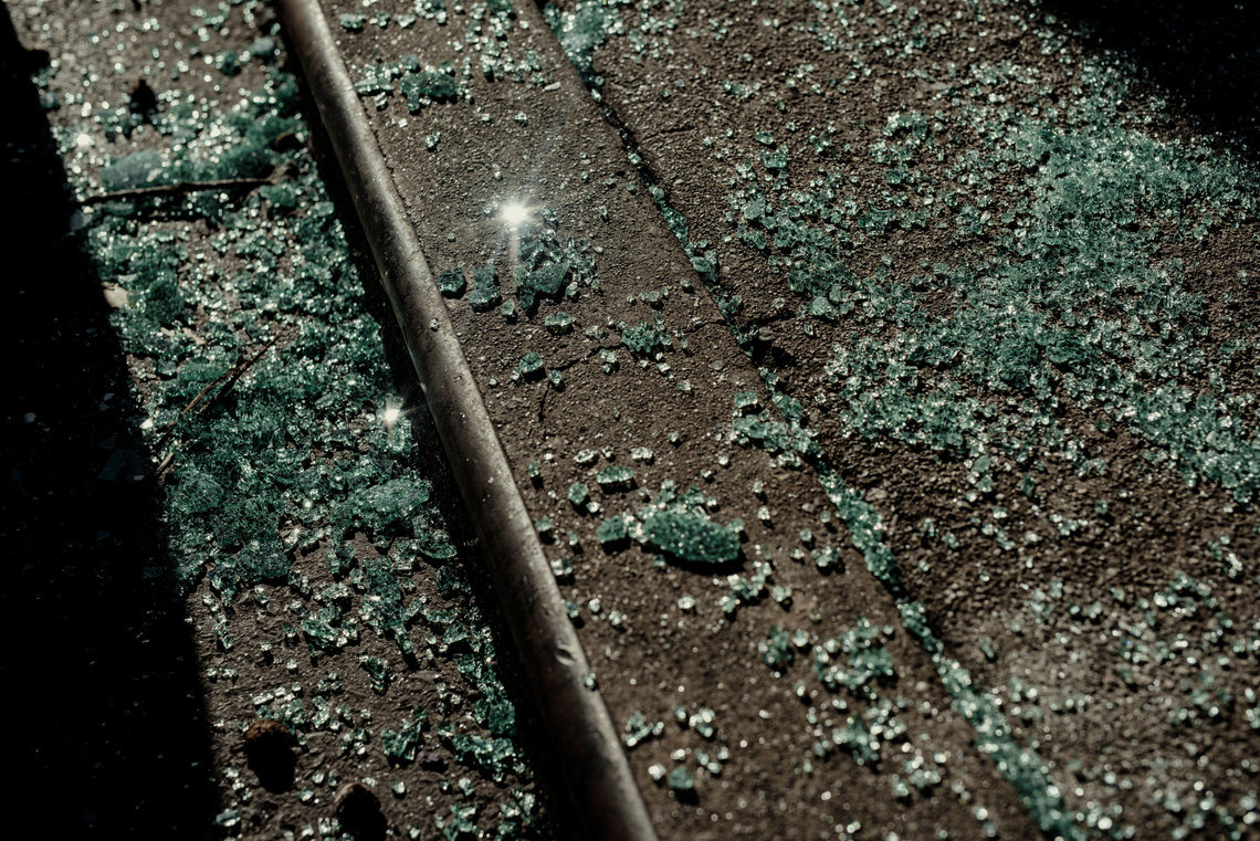 Shattered glass on a San Francisco street this month.