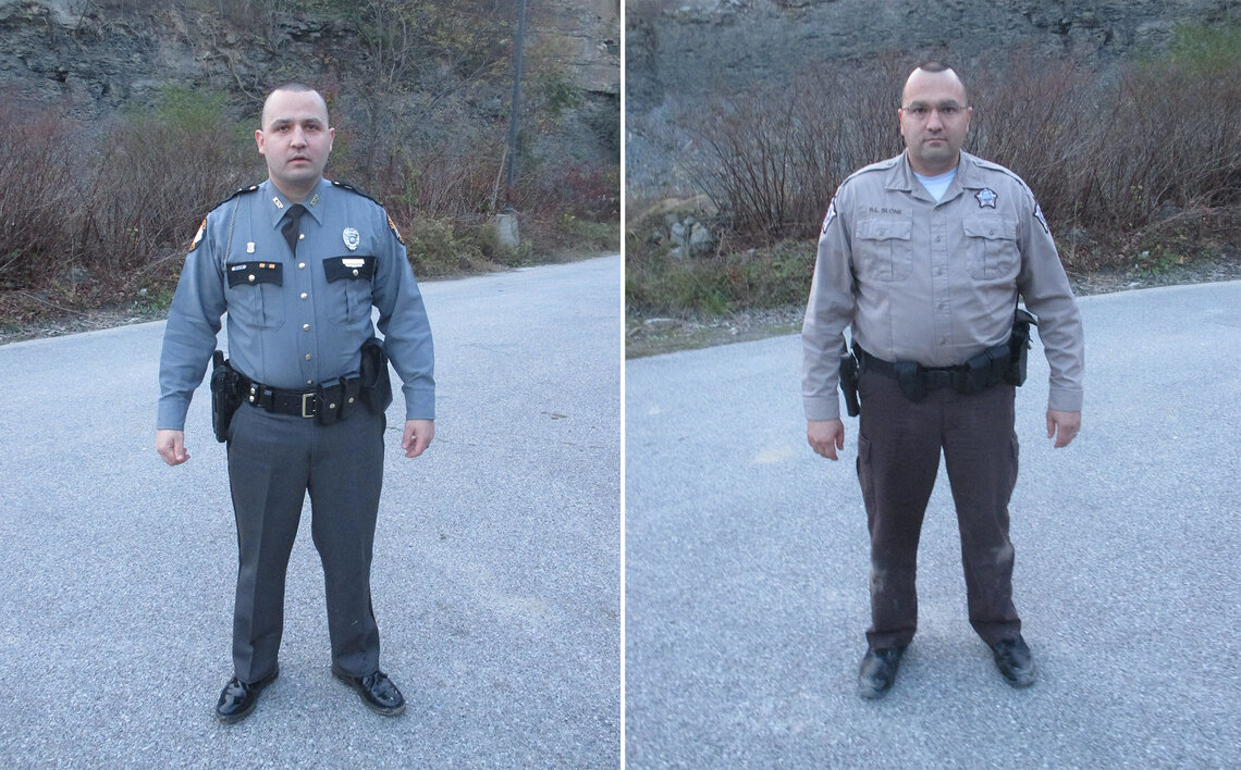 Kentucky State Trooper Leo Slone, left, and his brother, Sheriff's Deputy Robbie Slone. Trooper Slone shot and killed Christopher Jacobs in 2017 in Pippa Passes, Ky.