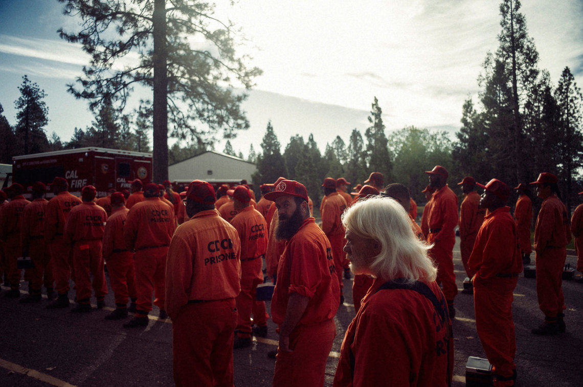 Inmate firefighters line up to deploy for a day's work at Growlersburg Conservation Camp in November, 2016.