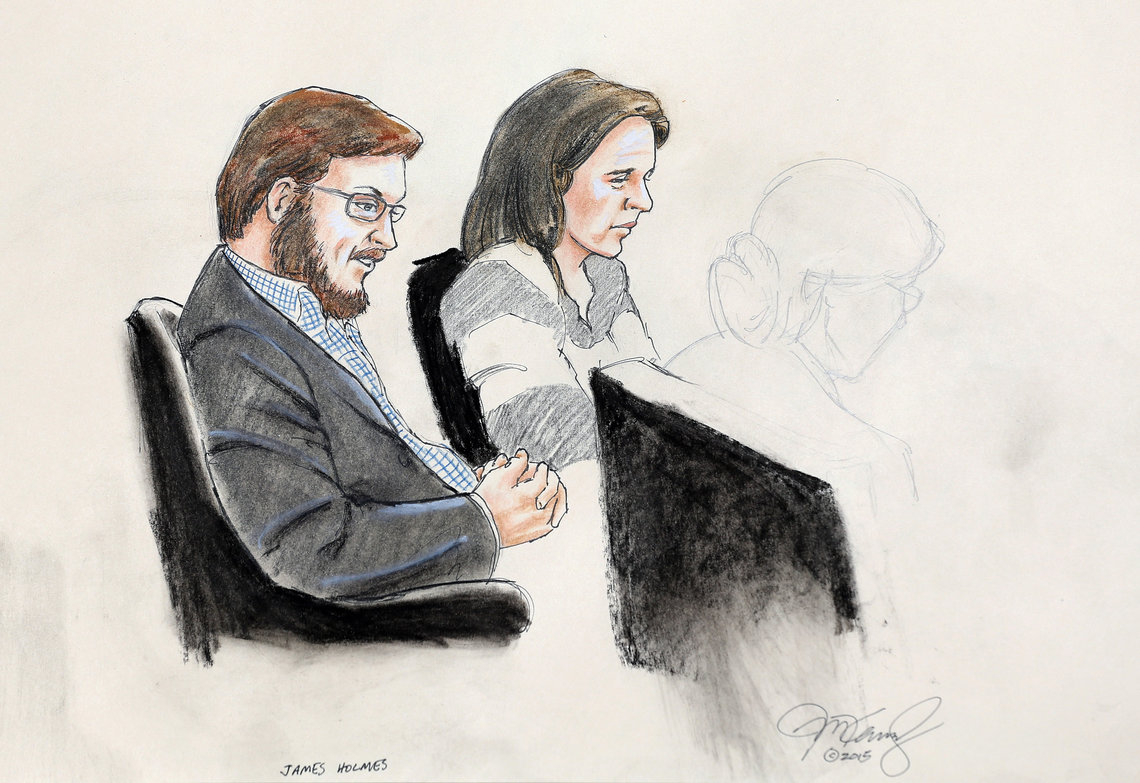 A courtroom sketch of James Holmes, left, with defense attorney Tamara Brady on the first day of jury selection.