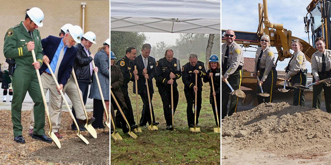 From left: groundbreakings in San Luis Obispo County, 2014; Calaveras County, 2010; Kings County, 2014.