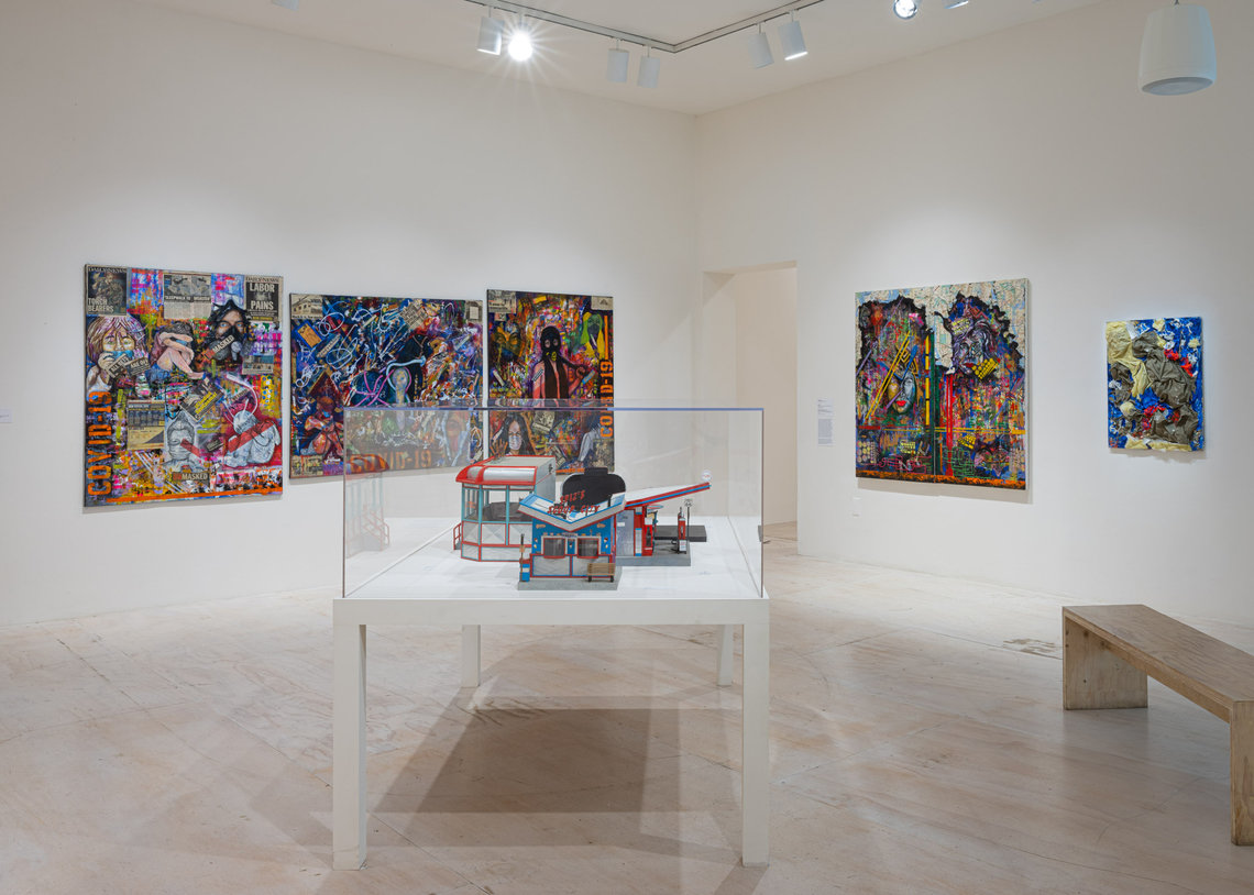 An installation view of Gilberto Rivera's works on the wall at MoMA PS1's