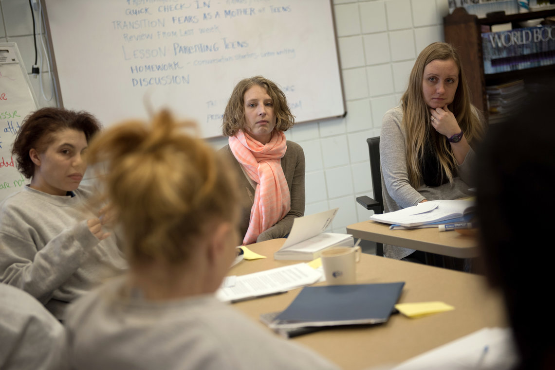 Doulas Rae Baker and Erica Gerrity, left, teaching a parenting class at the Hennepin County Adult Corrections Facility in Plymouth, Minn., in February.