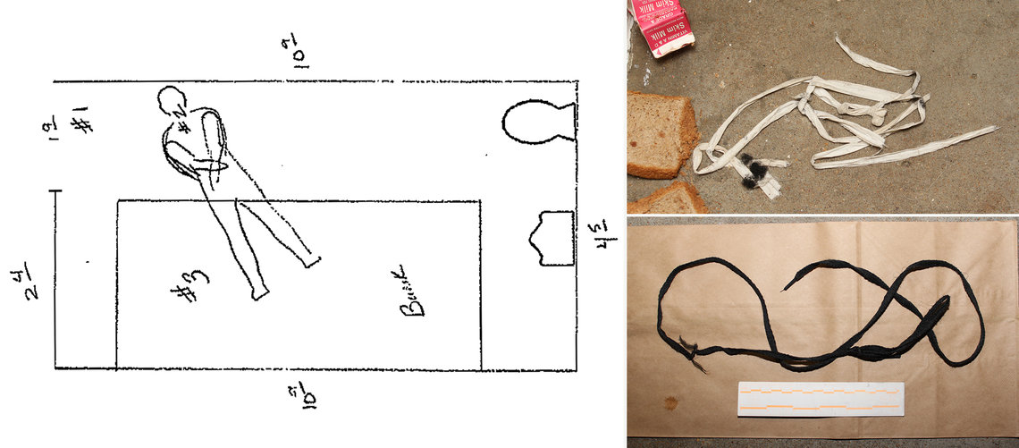 Clockwise from left: A diagram of Simmons' and Sesson's solitary cell after the murder; the torn piece of bed sheet Sesson initially used to strangle Simmons; the shoelace that Sesson ultimately used.