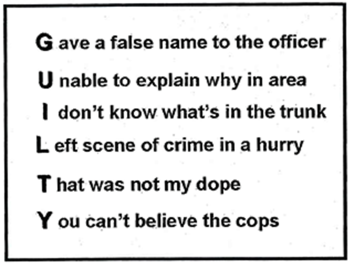 From page 134 of a book published by the National District Attorneys Association in 2003: