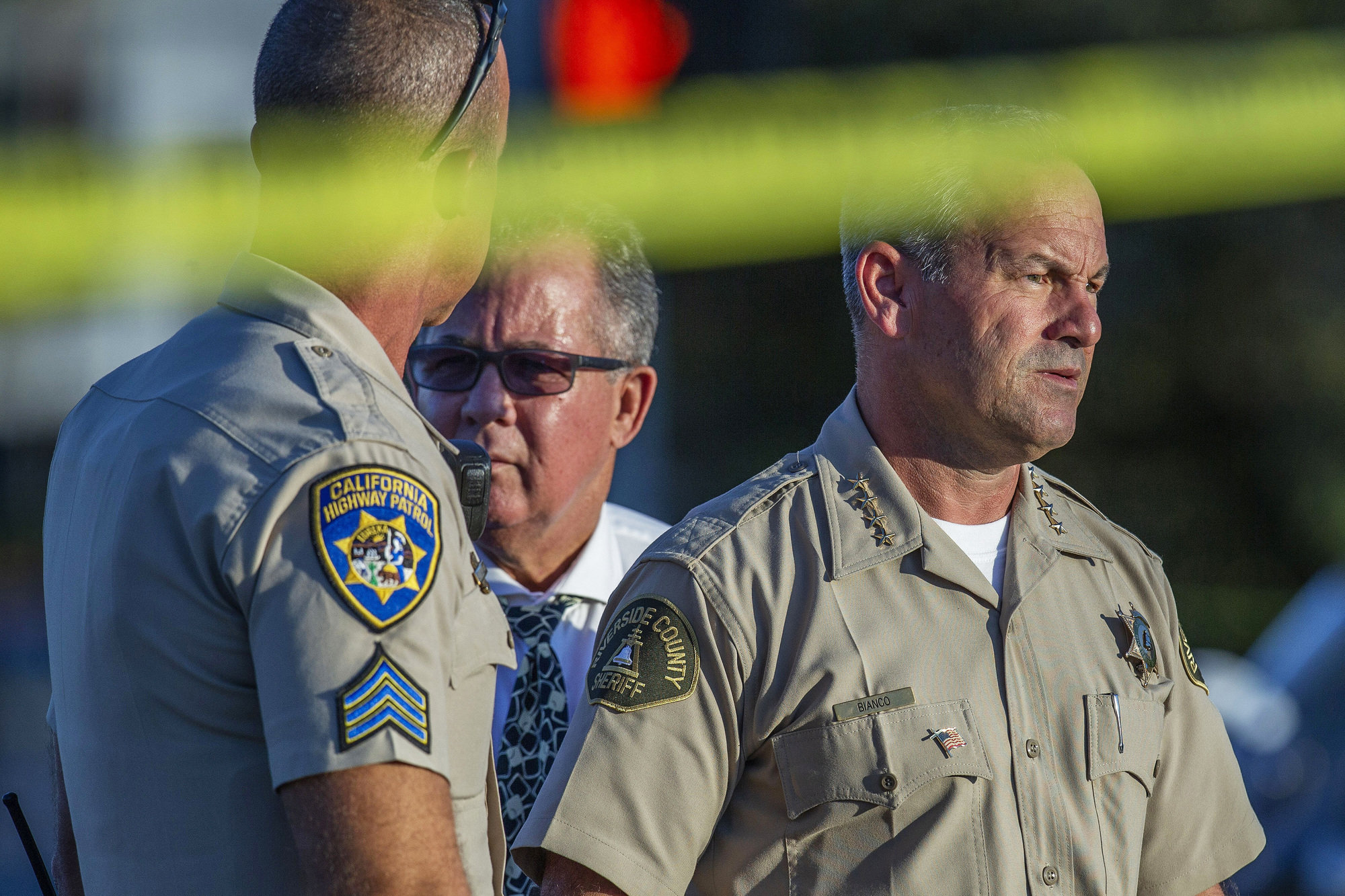 Riverside County Sheriff Chad Bianco, right, at a crime scene in Riverside, Calif., in 2019.
